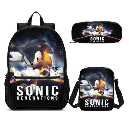 Sonic the Hedgehog Kids Backpack Set School Bag Shoulder Bag Pen Case Lot
