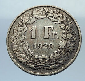 1920 SWITZERLAND - SILVER 1 Franc Coin - HELVETIA Symbolizes SWISS Nation i71650