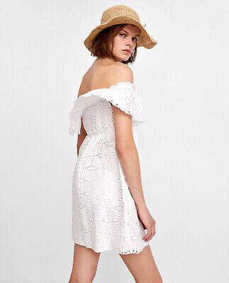 Zara Vestito con Intaglio Mini Abito Bianco Sangallo M Media 8 10 6 38 | eBay