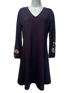 ann taylor Women's Size S purple floral embroidered long sleeve dress