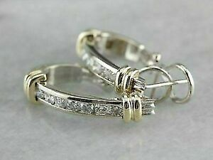 2 Ct Round Cut Diamond Two Tone Channel Set Hoop Earrings 14K Yellow Gold Over