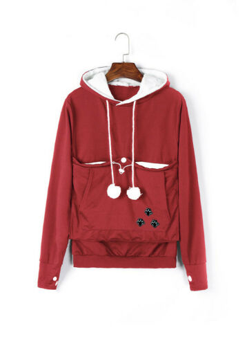 Dog Cat Hoodies With Cuddle Pouch Casual Kangaroo Pullovers With Ears Sweatshirt