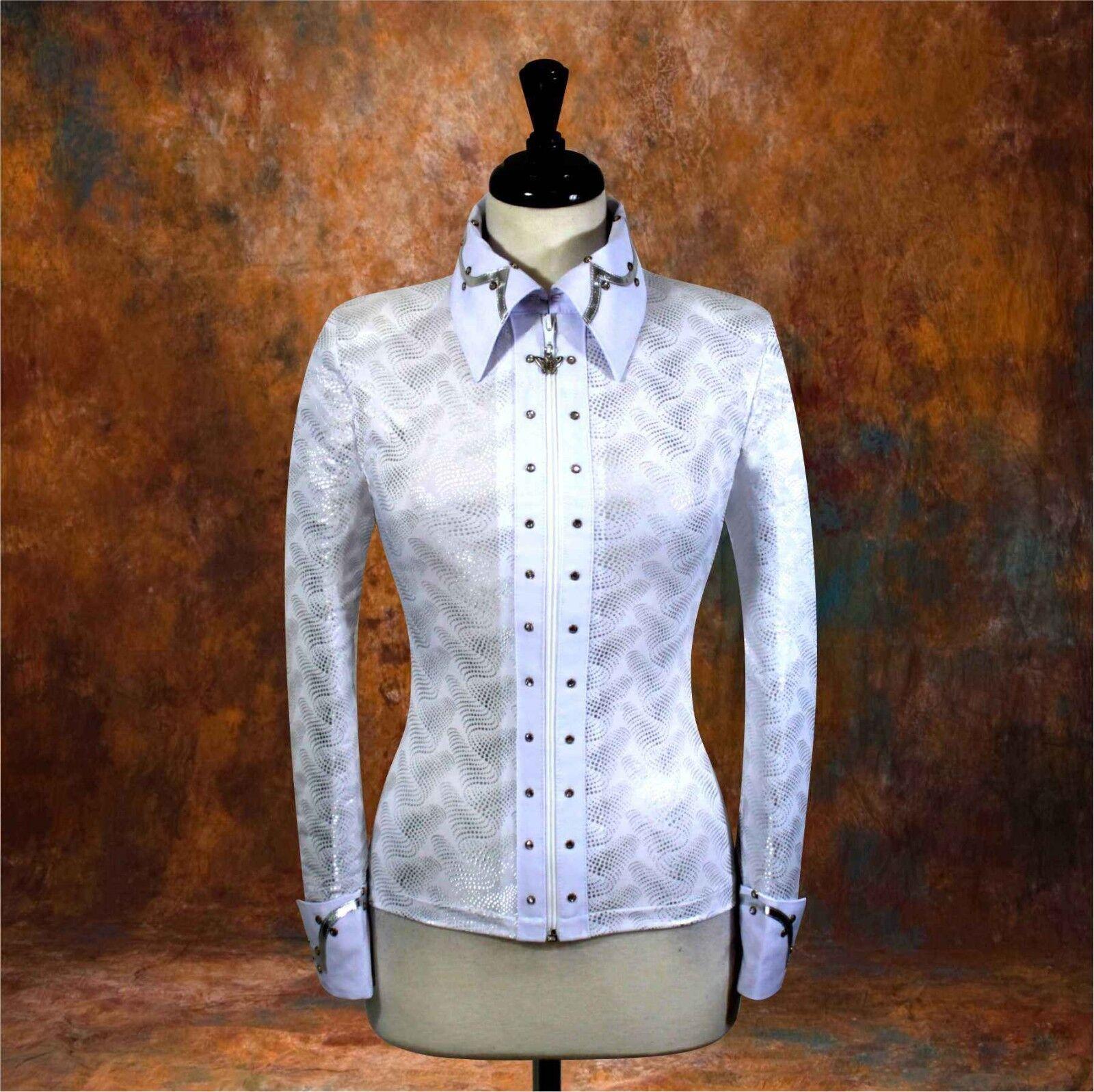 2X-Grande  teatralidad Oeste Chaqueta Camisa Equitación Show Rodeo Queen carril superior
