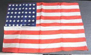 daa3bc61aa77 Vintage Hankie WWII48 Star Silk American Flag Hankie 15 3 4 x 10 1 ...