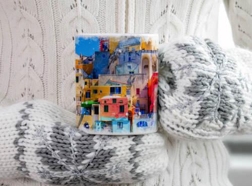 Tasse Geschenk Architekturfotografie Hafen der Procida Insel Neapel Italien