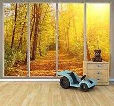 Wall26 - Wall Mural - Golden Autumn View Seen Through Sliding Glass Doors -66x96