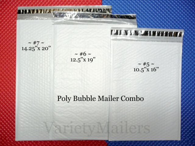 14 Poly Bubble Envelope Variety Pack ~ 3 Sizes ~ Made in USA ~ Free Shipping!