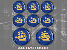 8 x 3D ROUND Stickers Resin Domed Flag Quebec City - Adhesive Decal Vinyl
