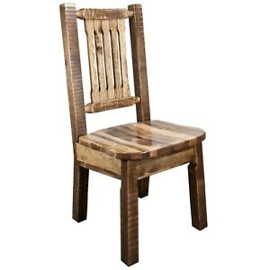 Details about Farmhouse Style Dining Chairs Amish Made Kitchen Chair Rough  Cut Pine Furniture