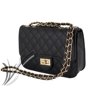come serch moda firmata vendita di liquidazione Dettagli su Borsetta nera trapuntata con tracolla catena da donna ragazza  borsa piccola moda