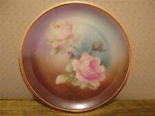 Antique Silesia Altwasser Painted Pink White Roses Flower Plate w Gold Trim