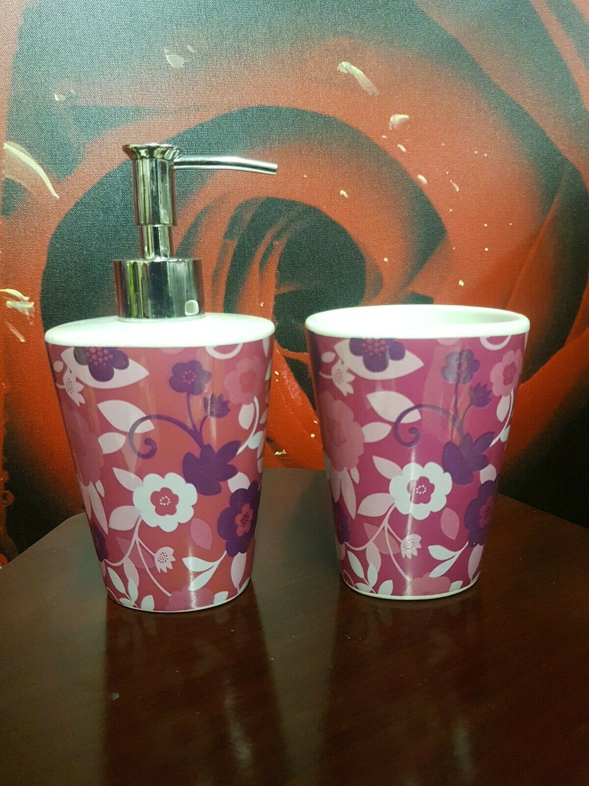 Pink Bathroom Ceramic Soap Dispenser And Tumbler - Toothbrush Holder Cup Storage