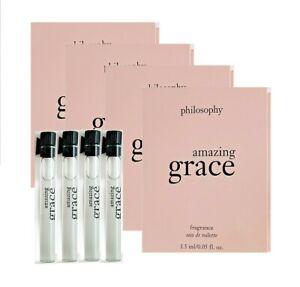 4 Philosophy AMAZING GRACE Eau De Toilette EDT Sample Vial .05 oz 1.5 ml 4 pc