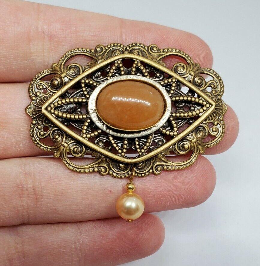 Vintage Orange Stone Brass Filigree Ornate Pearl … - image 1
