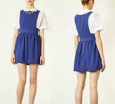Topshop Womens Blue Wonder Pinafore Dress Apron Suspender Mini US10 Back Zip $84
