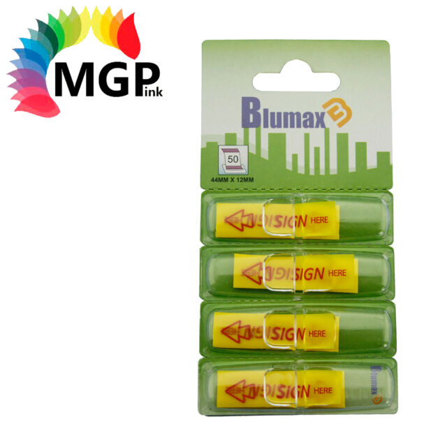 78 Blumax Mini Sign Here Flags, 4 Yellow Dispensers/Pack-25 Sheets/Dispenser
