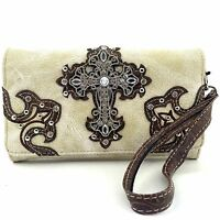 Western Cowgirl Luxurious Wristlet Wallet With Long Strap Cross Small Purse Beig