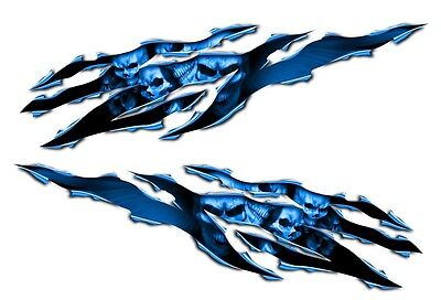 Yamaha YZF R1 R6 FZ8 FZ1 FZ6R Skull RIp Motorcycle Decal Sticker graphics blue