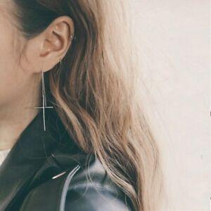 Damen-Ohrringe-Durchzieher-Kreuz-echt-Sterling-Silber-925