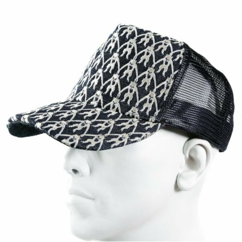 RMC JEANS Black Mesh with silver embroidered mens cap REDM9098
