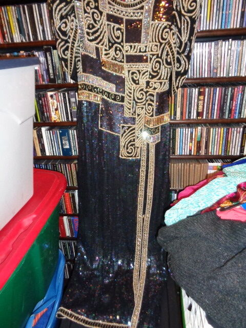 Judith Ann Creations Vintage Long Sequin Beaded Silk Gown All Over  S (Bin25)