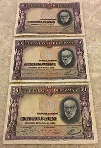 Lot Of 3 Spain Banknotes. 3 X 50 Pesetas. Dated 1935.  Collectible Spanish Notes