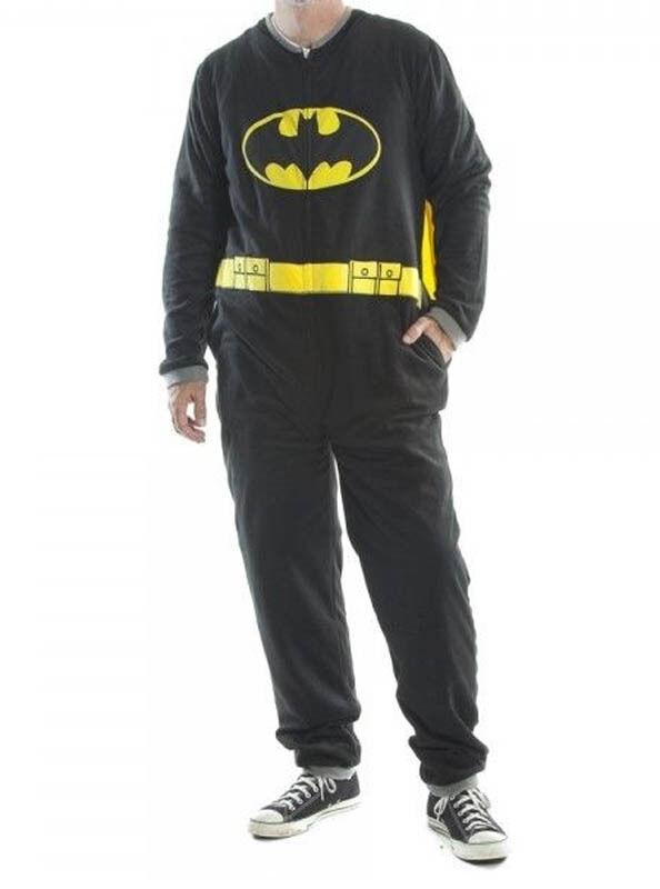 Adult Mens Batman Fleece Pajamas Union Suit w  Cape S-XL One Piece PJ