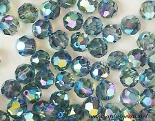 Swarovski Crystal #5000 Faceted 6mm Round beads Indian Sapphire AB2X (60) Blue