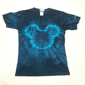 Walt Disney World Tee T Shirt Mens S Blue Tie Dye Mickey Mouse Head Logo