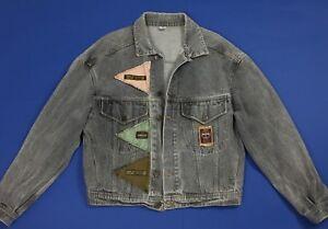 cheaper 89e11 d1ec7 Dettagli su Over up giacca jeans jacket vintage L giubbino boyfriend denim  retro T4296