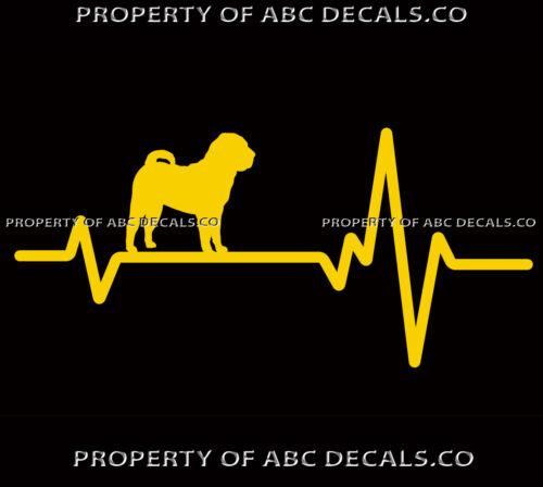 Herz Beat Line Hund Chinesisch Shar Pei Welpe Adoption Rescue Liebe Auto Vinyl