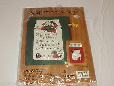 Gallery Of Crafts Stitch N paint Strawberry jar counted cross friendship 32492