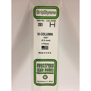 """4 Evergreen Styrene Plastic 283 H Column 0.100/""""  2.5mm x 14/"""""""
