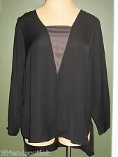 6TH & LN LANE BRYANT 28 Black Chiffon High Low Long Sleeve Blouse (28W 3X 4X)