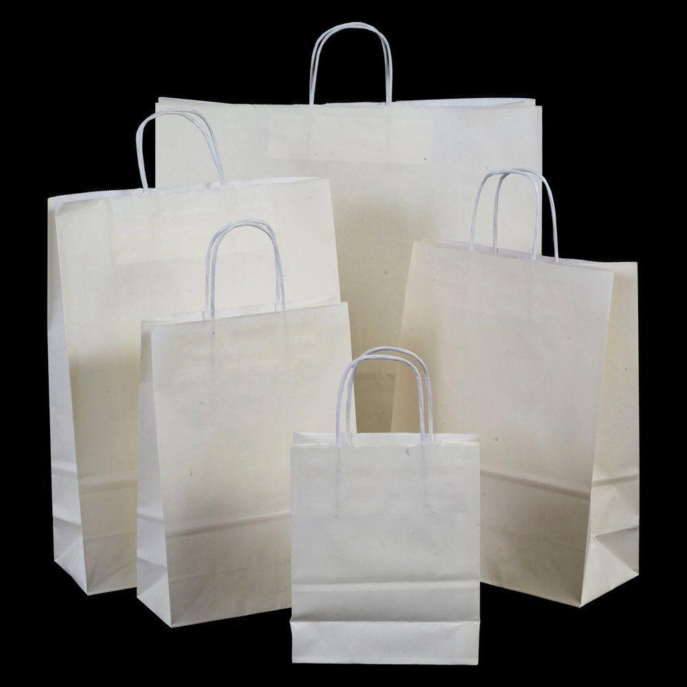 Twisted Handles WHITE Luxury Kraft Paper Party Bags Wedding 18cm x22cm x8cm