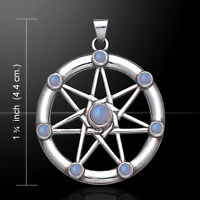 Elven Star Wiccan Sterling Silver Pendant With Choice Of Gemstone By Peter Stone