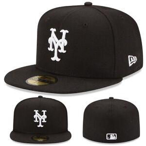 New-Era-New-York-Mets-5950-Fitted-Hat-MLB-League-Basic-Black-White-Logo-Game-Cap
