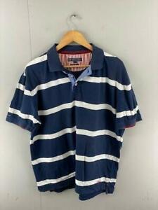 RB Sellars Mens Navy White Striped Cotton Short Sleeves Regular Polo Shirt Large