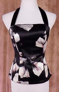 WHITE-HOUSE-BLACK-MARKET-NWT-Sz-2-Silk-Lined-Black-with-Floral-Print-Bustier-Top