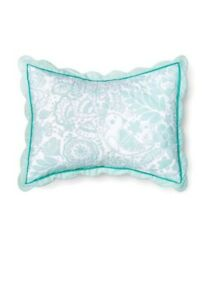 Pillowfort-Mint-Green-amp-White-Birds-Scalloped-Edge-Sham-Standard-Size-NEW