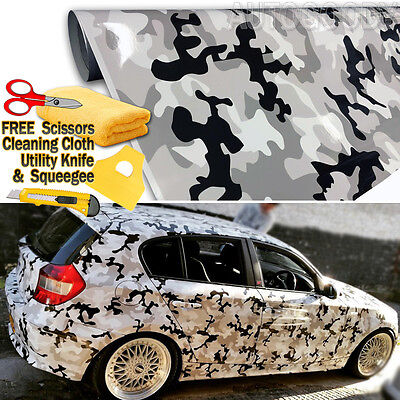 """84/"""" x 60/"""" Snow Camo Camouflage Vinyl Film Wrap Decal Air Bubble Free 7ft x 5ft"""