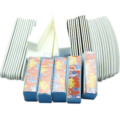 40PCS Sanding Files Buffer Block Nail Art UV Gel Manicure Pedicure Tools Set