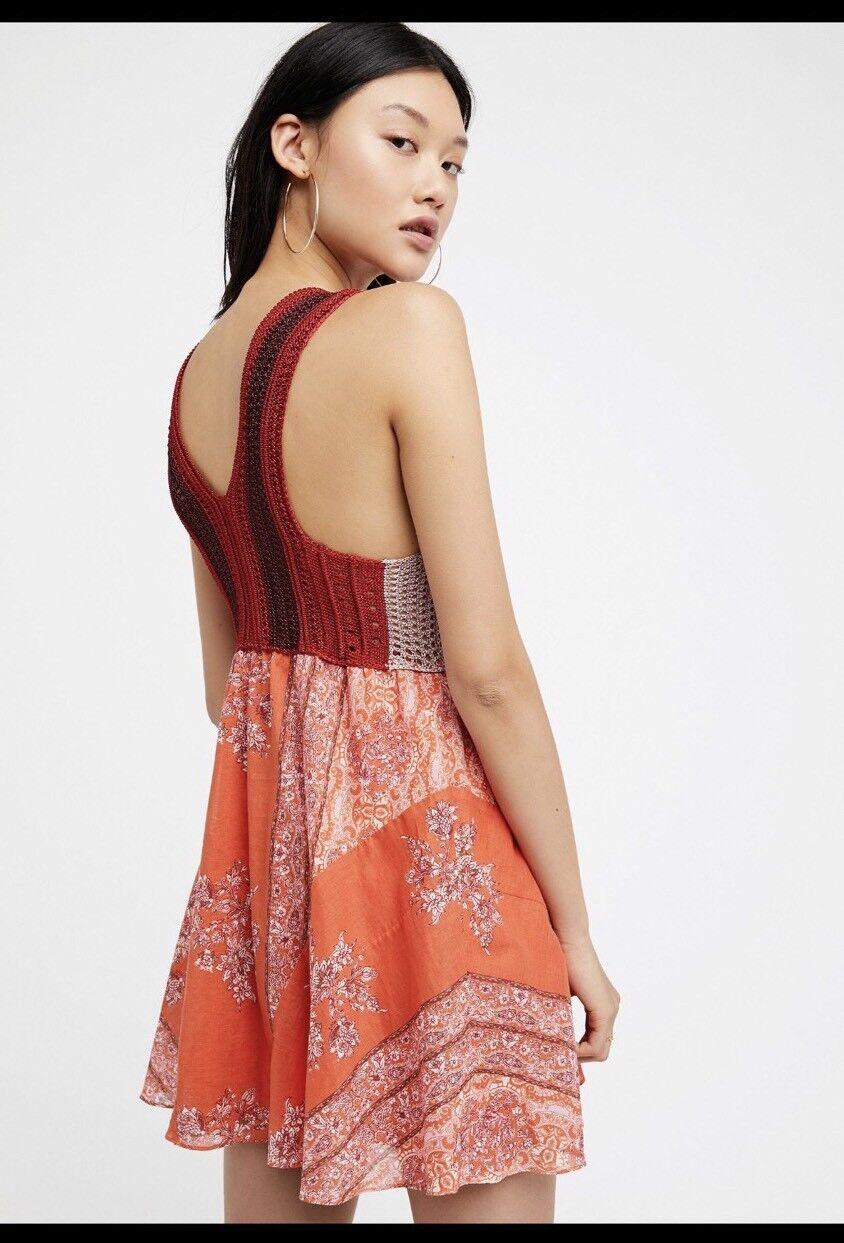 NWT  FREE PEOPLE Katie's Mini Dress S Red Combo