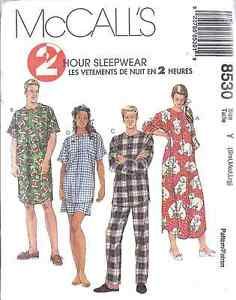 8530 UNCUT McCalls Pattern Mens Misses Sleepwear Pajamas OOP Vintage SEWING SEW