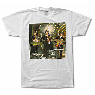 """THE BEATLES """"DRUMS"""" BAND PHOTO WHITE T-SHIRT NEW OFFICIAL ADULT"""