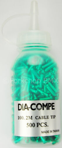 BOTTLE OF 500 GREEN ANODIZED Dia-Compe bicycle brake cable end crimps tips
