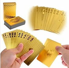 LLF Luxury 24K Gold Foil Poker Playing Cards Deck Carta de Baralho with Box G...