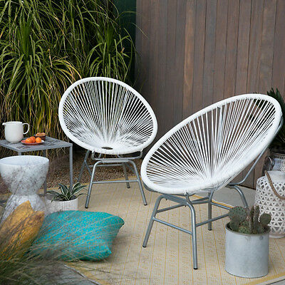 Marvelous 2 Piece Resin Wicker White Patio Sun Chairs Set Outdoor Home Furniture Seating Ebay Machost Co Dining Chair Design Ideas Machostcouk