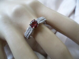 Antique-Art-Deco-vintage-Sterling-Silver-Ring-Ruby-and-White-Sapphires-size-9-S