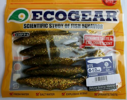 6 colours FREE SHIPPING Shad Lures  BTS ECOGEAR 6 per pack 4.5 inch